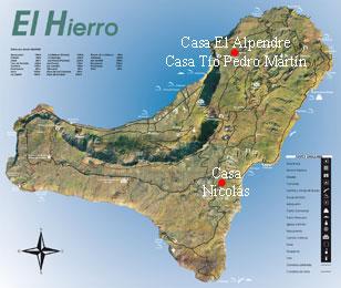 Mapa de El Hierro: Carreteras y sitios de interés